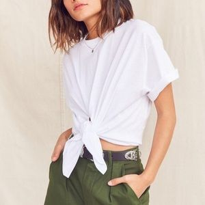 Urban renewal cropped front tie tee